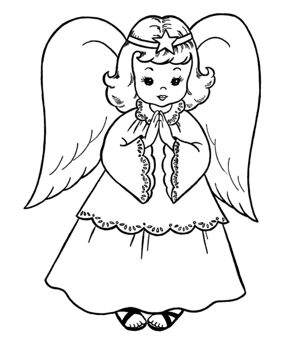 Christmas Coloring Pages For Kids Angel